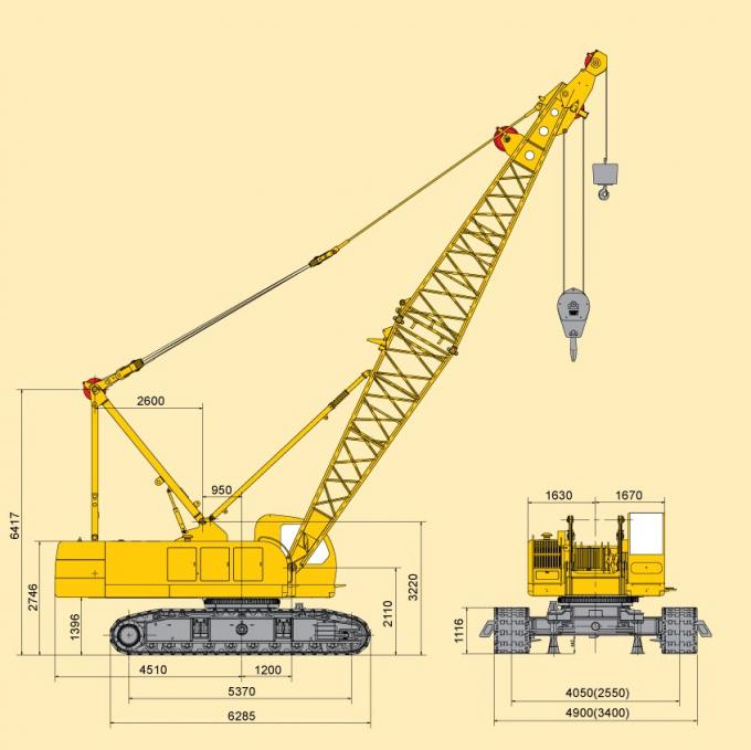Adjustable Knuckle Boom Length 80m Hydraulic Crawler Crane 28 ton QUY80