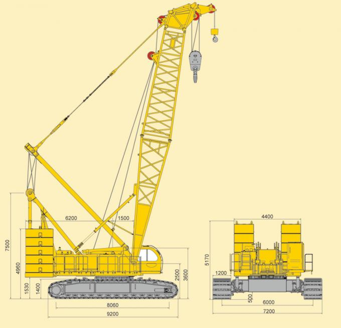 Durable Construction Site Mobile Hydraulic Crawler Crane , QUY250 XCMG Crawler Crane
