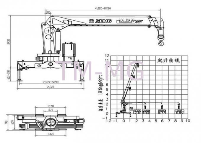 Durable XCMG Raise And Down Truck Loader Crane Lift , 15.7 T.M 40 L/min