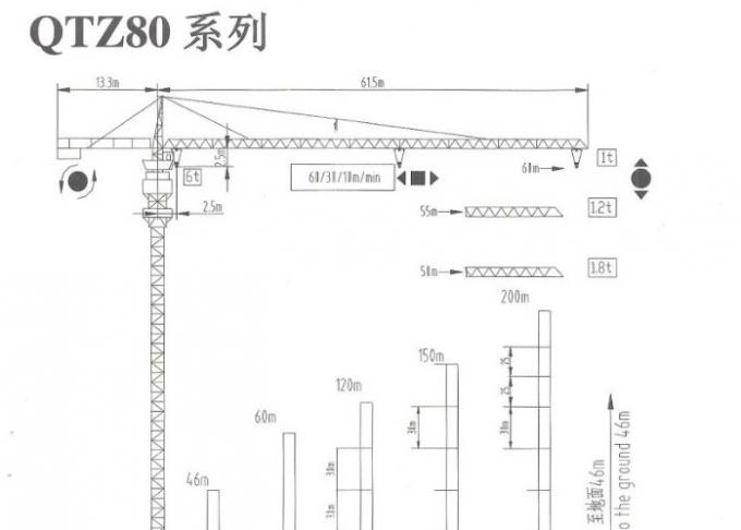 XCMG QTZ80 8 Ton 55M Building Construction Crane Easy Operation Tip Head Tower Crane